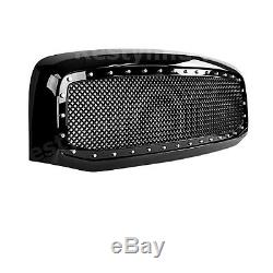 06-08 Dodge RAM 1500+2500 Front Hood Rivet+Black Wire Mesh Grille Grill WithShell