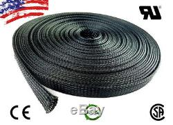 100 FT 3/8 Black Expandable Wire Cable Sleeving Sheathing Braided Loom Tubing