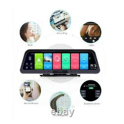 10 Inch Touch Stream Android 8.1 Bluetooth GPS Dual Rearview Mirror Dash Cam WDR