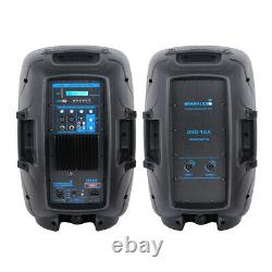 12 Dual 2-Way 2000 W Powered PA Speaker System Portable DJ Speaker With Bluetooth
