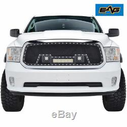 2013-2018 Dodge Ram 1500 Grille Rivet Black SS Wire Cutout Mesh With 3 LED Lights