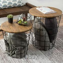 2 Convertible Nesting End Tables Metal Basket Wooden Top Home Office Furniture