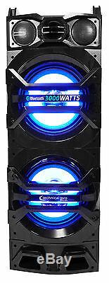 (2) Technical Pro Dual 10 1500w Speakers withLED Lights + DVD Receiver Amplifier
