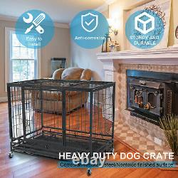 37 Pet Dog Cage Heavy Duty Strong Metal Wire Crate Kennel Playpen for Training