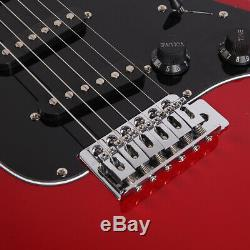 40 Basswood Electric Guitar withBag Strap Spanner Tool Power Wire Plectrum, Red