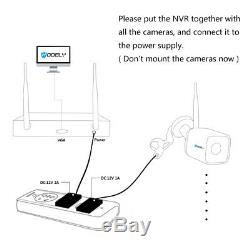 8CH Wireless NVR In/Outdoor Wifi IR-CUT Camera Home Security System Motion Alert