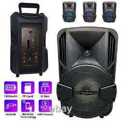 8'' Portable FM Bluetooth Speaker Subwoofer Heavy Bass Sound System Party 1000W
