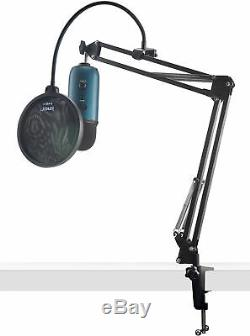 Blue Microphones Yeti Teal USB Microphone with Knox Studio Arm & Pop Filter