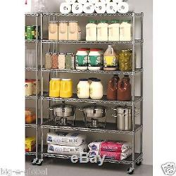 Commercial Steel Rolling Storage Shelving Rack Metal Wire Shelf 3 Caster Chrome