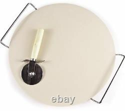 Extra Large 38cm / 15 Pizza Baking Stone With Wire Serving Rack & Pizza Cutter