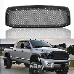 Fit 2006-2008 Dodge Ram Rivet Black Stainless Steel Wire Grille Grill Mesh Shell