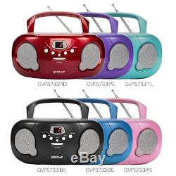 GROOVE BOOMBOX PORTABLE CD PLAYER With RADIO/AUX IN/HEADPHONE JACK RED GVPS733