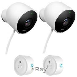 Google Nest Wired Outdoor Security Camera (2 Pack) with 2-Pack Wifi Smart Plug