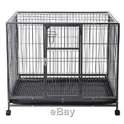 Goplus Black 44'' Dog Crate Kennel Heavy Duty Metal Wire Pet Playpen with Tray Pan