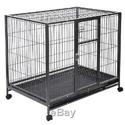 Heavy Duty Black 42'' Dog Crate Cage Kennel Metal Wire Pet Playpen with Tray New