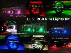 JHB IP68 15.5RGB Color-Change Illuminated LED Wheel Light x4Rings with Wire KIT