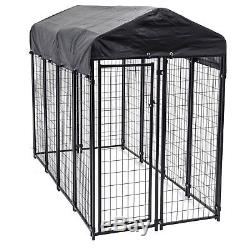 Lucky Dog 6'H x 8'L x 4'W Welded Wire Dog Fence Pet Kennel with Heavy Duty Cover