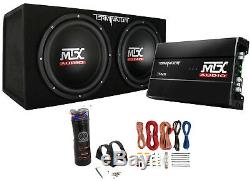MTX Dual 12 Subwoofers and Amplifier Package with AKS8 Wiring Kit & Capacitor