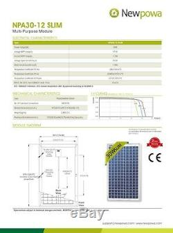 Newpowa 30W Watt 12V Solar Panel With 3ft Wire +10A PWM Controller Charge Kit