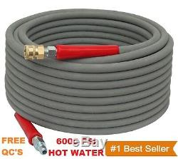 Pressure Washer Parts Hose 6000 PSI 100 FT 2 Wire Braid Gray Non-Marking