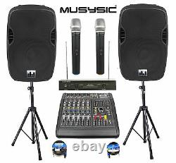 Professional 2000W PA System 6 Channel Mixer 10 Speakers Dual Wireless Mic