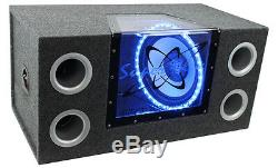 Pyramid BNPS122 121200W Car Bandpass Subwoofers + Box + 1500W Mono Amp + Wiring