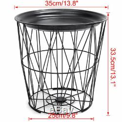 Retro Black Metal Wire Round Metal Top Storage Side Table Basket Home Furniture