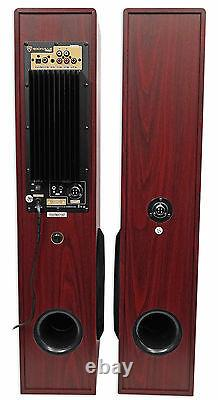 Rockville TM80C Cherry Powered Home Theater Tower Speakers 8 Sub/Bluetooth/USB