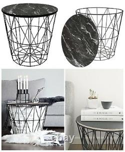 Round Geometric Modern Black Metal And Marble Effect Wood Coffee End Side Table