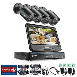 SANNCE 4CH 1080N DVR LCD Monitor 1500TVL Outdoor IR Home Security Camera System
