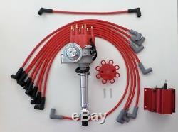 SMALL BLOCK CHEVY RED Small HEI Distributor + COIL + PLUG WIRES Over Valve Cover