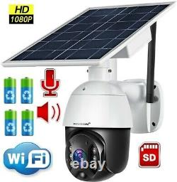 WiFi IP PTZ Camera 1080P HD Solar Power Security Outdoor CCTV Night Vision Dome