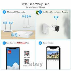 ZOSI 1080P Wire Free Rechargeable Battery Powered Security Camera System 4CH NVR