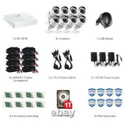 ZOSI 8CH HD 5MP Security Camera System 1TB Hard Drive DVR Outdoor Bullet Camera