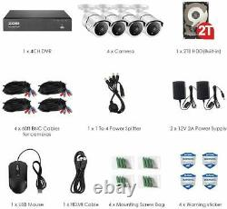 ZOSI H. 265+ 8MP 8CH DVR Ultra HD 4K 100ft Outdoor Security Camera System 2TB HDD